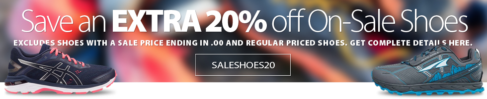 For a limited time save an EXTRA 20% off off a huge selection of On-Sale shoes. Excludes shoe models with a price ending in $.00. Not valid on regular priced shoes. Shop early for best selection. Offer extended until February 26th, 2020.