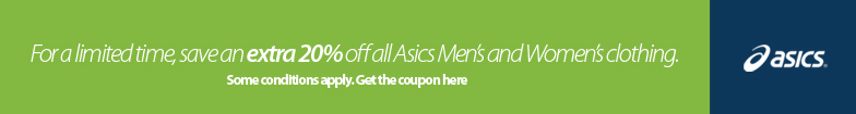 Click here for a coupon to save an extra 20% off all Asics Clothing. See coupon for details.