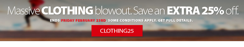 Massive Clothing Blowout. Save an extra 25% off the lowest ticketed price of all in-stock clothing. Offer ends Friday February 23, 2018. Some conditions apply. get complete details here.