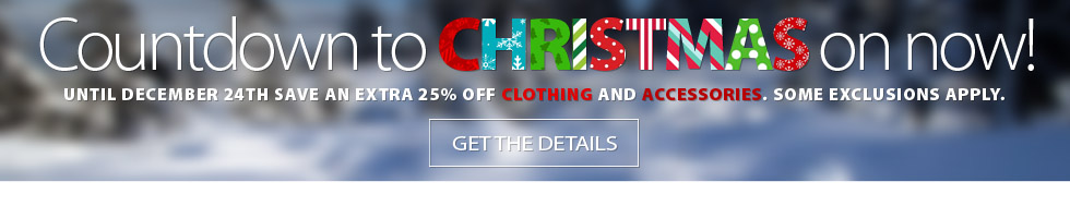 The countdown to Christmas has begun! Save an EXTRA 25% off the lowest ticketed price of CLOTHING and ACCESSORIES until Chrsitmas Eve. Get complete details here.
