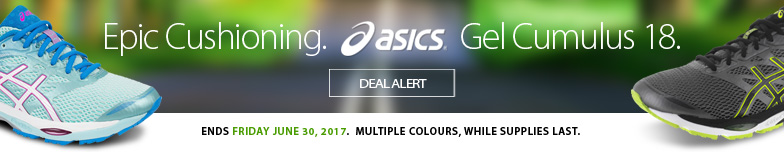 Deal Alert - Epic cushioning from the most popular neutral cushioning model in our store for over a decade. Starting now the ever-popular Asics Gel Cumulus 18 is no on sale until June 30th, 2017