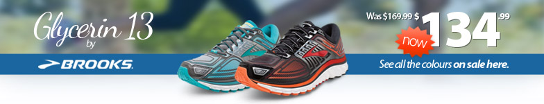 Seriously impressive cushioning now on sale! Announcing a very special price on the Brooks Glycerin 13 for Men and Women in multiple colours now on sale.