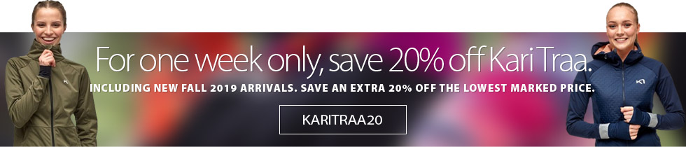 Just in time for the cold weather, save an extra 20% off the lowest marked price of all Kari Traa, including new Fall 2019 arrivals. Some conditions apply. Get complete detaisl on the coupon here. Offer Ends Friday November 15th, 2019.