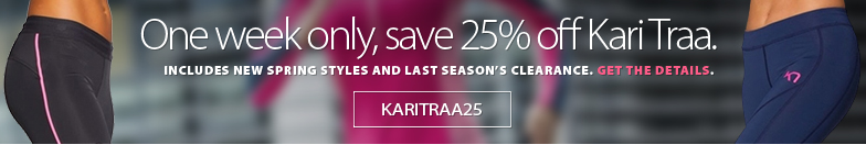 One week only. Save an EXTRA 25% on all Kari Traa clothing including new Spring 2018 styles and clearance from last season. Enter Coupon KARITRAA25 at checkout. Get complete details here. Offer ends Friday April 20th, 2018.