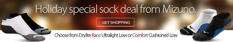 Deal Alert - Mizuno holiday sock deal now on. Get a pair of Mizuno Drylite Race or Comfort Low socks for only $7.99 regularly $14.99. Offer ends Friday December 15, 2017 at 8:00pm. While supplies last. Availability varies by location.