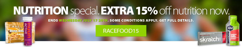 We've done it again! Until July 15th, 2019 you'll save 15% off all in-stock nutrition products including all your favourite race food, bars, gels, supplements, and more. Some conditions apply. Get complete detaisl here.