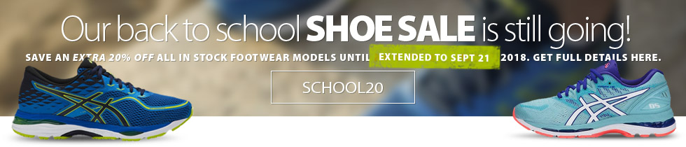 Back to School shoe event on now. Save an extra 20% off the lowest ticketed price of all in-stock shoes until Monday September 3, 2018. Get complete details on the coupon here.