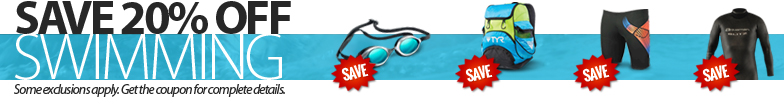 For a limited time, save 20% off all in stock, regular priced swimming products. Some restrictions apply. Not all items available at all locations. Please see coupon for complete details.