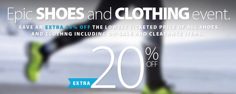Epic SHOES and CLOTHING event! Save an extra 20% off the lowest ticketed price of all in-stock footwear and apparel. Some conditions apply. Get full details.