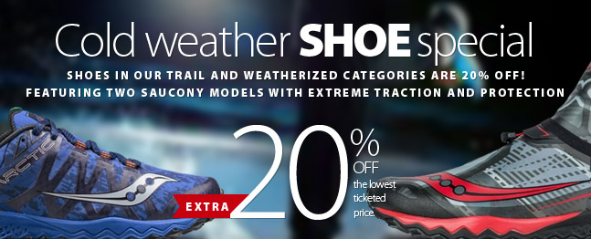 Slip, slide, and freeze your way to Running Free for some new running shoes that can handle themselves on any terrain. Right now save an extra 20% off all Trail Running and Weatherized models and make sure you're protected from the wet, slushy, cold nastiness that's coming! That includes rock-bottom clearance items! Sale ends Friday October 26, 2018. Some conditions apply. Enter WEATHER20 at checkout to redeem discount. Complete details available on coupon.