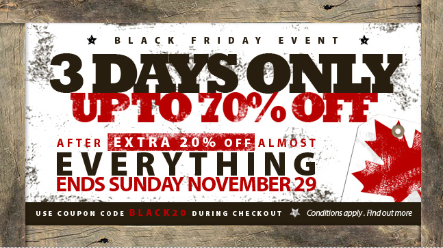Black Friday Special - 3 Days Only - Save up to 70% almost EVERYTHING store wide after an extra 20% off. Some exclusions apply.