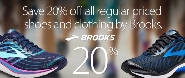 Deal Alert - Save 20% off all regular priced Brooks shoes and clothing until Friday August 25th, 2017.