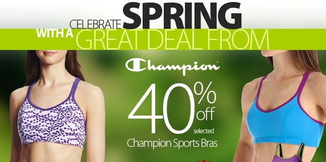 Celebrate Spring with a great deal on Sports Bras by Champion. While sizes last, save 40% off on selected Sports bras from Champion. Prices as marked. Shop early for best selection!