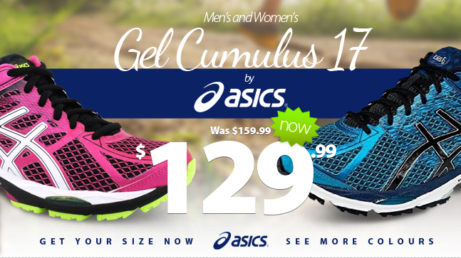 The cushioning you love from Asics in a lightweight and responsive package for anyone seeking a neutral shoe with excellent cushioning. Asics Gel Cumulus 17 for Men and Women in multiple colours now on clearance for only $129.99. Get a pair now!