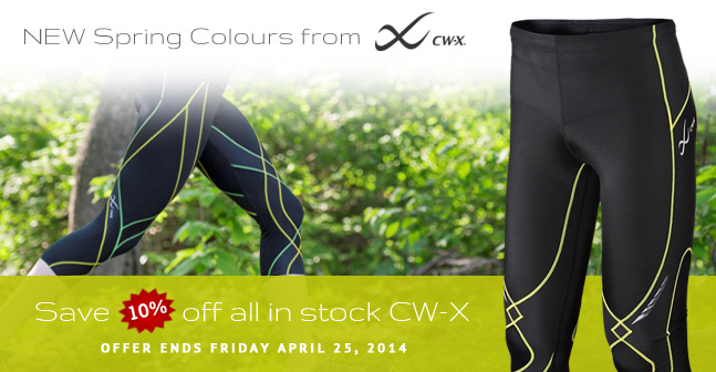 New CW-X Spring colours in stock. For a limited time save 10% off off of all in-stock CW-X products. Offer ends Friday April 25, 2014. Cannot be combined with other offers
