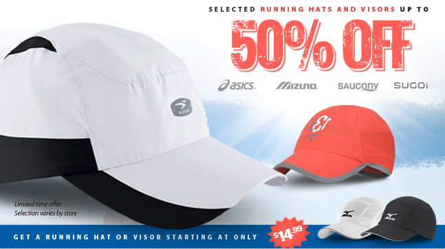 Heads up! For a limited time, selected Running Hats and Visors are up to 50% off. Featuring Asics, Mizuno, Saucony, and Sugoi. Get a nice cool shady hat or visor starting at only $14.99. Visit your neighbourhood Running Free for a freat deal on hats now, or shop online at runningfree.com.