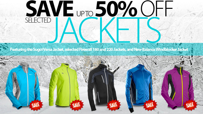 Deal Alert! - Save up to 50% off selected Jackets at Running Free. Choose from dozens of weather blocking styles and fabrics for Men and Women. Shop now and save when supplies last! Selection varies by store.