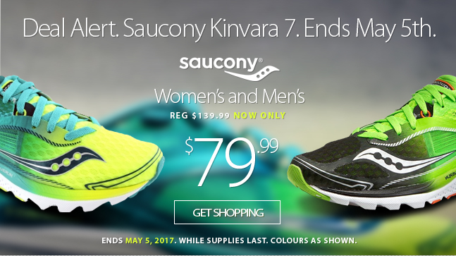 Deal Alert - The ever-popular Saucony Kinvara 7 is now available at a very special blowout price. But only until Friday May 5th, 2017. Find out more.