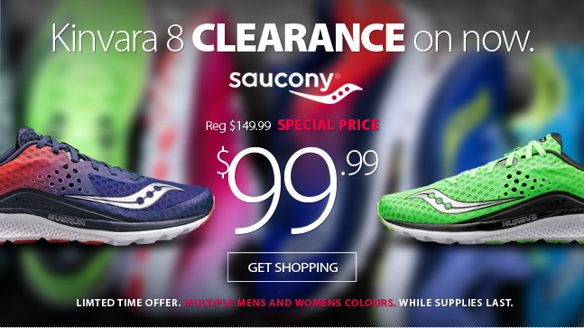 Saucony Kinvara 8 clearance starts now. For a limited time choose from multiple Men's and Women's colours, while supplies last. Shop early for best selection.