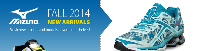 Fall 2014 New Arrivals from Mizuno. Fresh new models and colours now on our shelves.