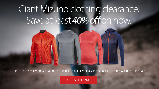 Huge selection of Mizuno clothing, perfect for the crisp fall weather, now at least 40% off. Find out more about Mizuno and their revolutionary Breath Thermo technology that keeps you warm without all the bulky layers.