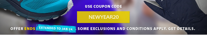 It is a brand new year! Get motivatated to get outside and stay outside with a ne pair of running shoes, or a new workout outfit, pus for a limited time save an EXTRA 20% off all shoes and clothing right now. Some exclusions and conditions apply. Get complete details here. Offer ends January 17th, 2020.
