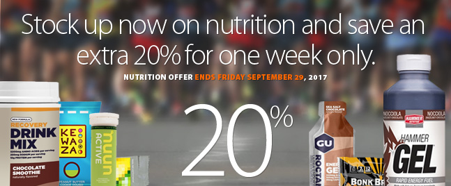 Deal Alert - Stock up now! For one week only save an extra 20% off all nutrition products at running Free stores and runningfree.com. Download coupon for complete details.Selection varies by location.