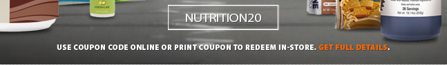 Deal Alert - Stock up now! For one week only save an extra 20% off all nutrition products at running Free stores and runningfree.com. Download copon here for complete details. Selection varies by location.