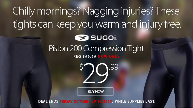 Deal Alert - Chilly mornings? Nagging injuries? These awesome tights can help you stay warm and prevent injuries. Save 70% off until Friday October 20th, 2017. Selected items. While supplies last.