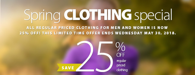 Spring Clothing Special. Save 25% off the regular price of all clothing not currently on sale. This is a great oppourtunity to grab a new spring running oufit and get excited abotu gettting back in the swing of things now that the warmer weather has arrived. Sale ends Friday May 25th. Some conditions apply. Please see the coupon for complete details.