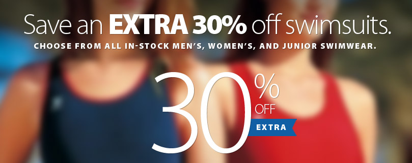 Right now SAVE an EXTRA 30% off all Men's WOmen's and Kid's swimsuits. Wetsuits and Swim accessories are not included. Offer ends August 24, 2018. Get complete details on the coupon here.
