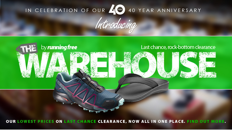 Years ago, before the age of online shopping, running free was known for our massive warehouse sales. Anyone looking for an incredible deal would wait patiently for these epic events that we ran four times a year in a huge warehouse. Times have changed, but we still have some of the best deals around, so we decided to put them all in one place and call it  The Warehouse in honour of our 40th anniversary and our history.