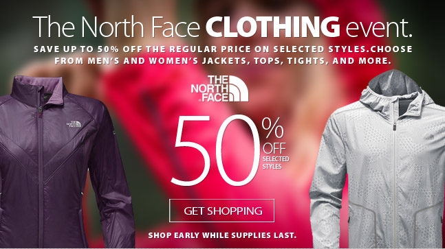 Save up to 50% off of the best in performance outdoor athletic clothing from The North Face. Discount available while supplies last. Selected models marked down up to 50% off. Get shopping here.