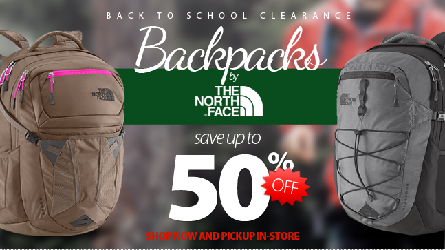 Back to School Clearance. Backpacks by The North Face are now up to 50% off. Shop now and pickup in-store!