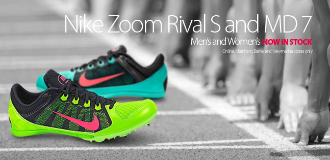 Now in stock in Men's and Women's models, the Nike Zoom Rival S and MD 7. Check out all the colours and style today at RunningFree.com or visit Running Free Markham, Newmarket, or Barrie
