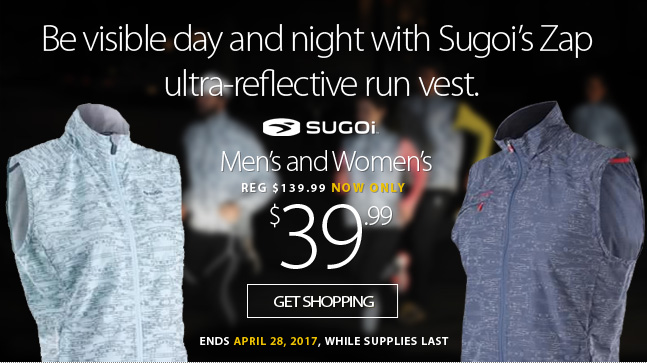Deal Alert - Be visible day and night with an ultra-reflective Zap Run Vest from Sugoi for only $39.99. That's 70% off the regular price. This offer ends Friday April 2th, 2017. While supplies last.