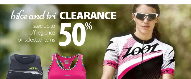 End of season Bike and Triathlon clothing clearance. Save up to 50% off the regular price of selected items.