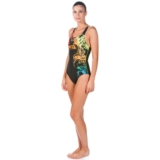 Arena Backwash One Piece Women's Black/Leaf