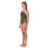 Arena Girls Neon Jr One Piece Youth Black/Turquoise