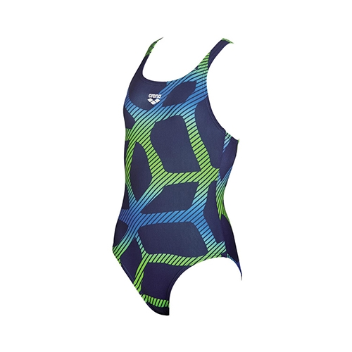 Arena Girls Spider Jr 1 Piece Youth Navy/Leaf