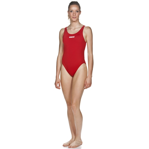 Arena Solid Swim Tech High Women Red/White
