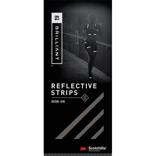 Brilliant Reflective Strips Black Iron-On (12 Strips)