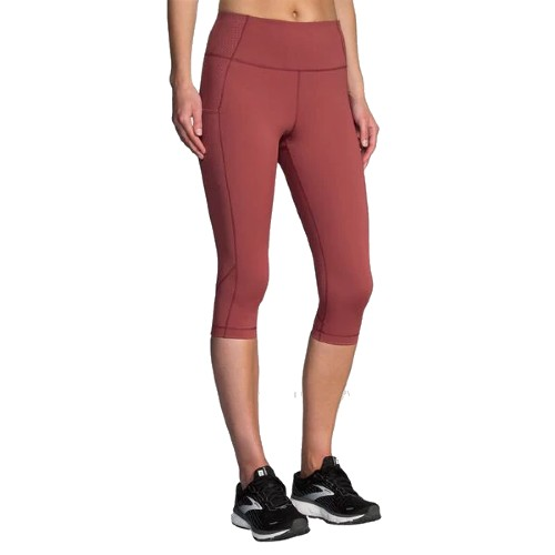 Brooks 1/2 Crop Tight Women's Terracotta Print