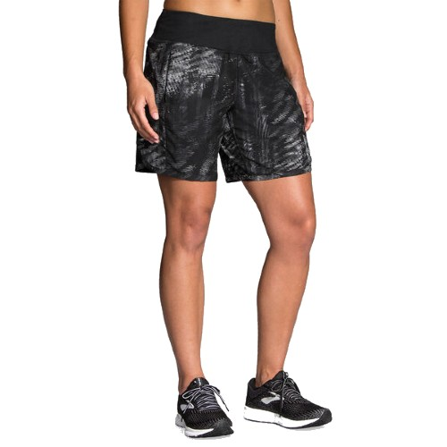 "Brooks Chaser 7"" Short Women's Black/Motion Print"