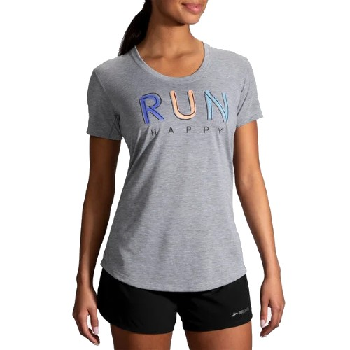 Brooks Distance Graphic Tee Women's Heather Ash/Multi Run