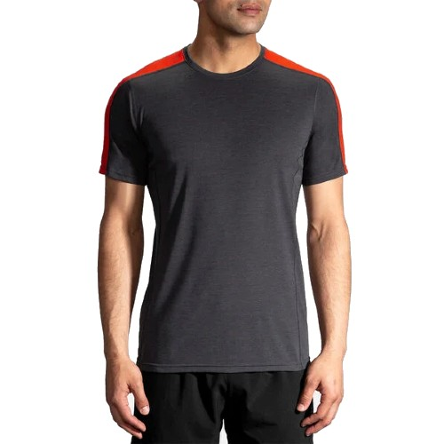 Brooks Distance Short Sleeve Men's Heather Asphalt/Lava