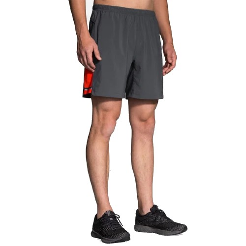 "Brooks Sherpa 7"" 2 in 1 Short Men's Asphalt/Lava"