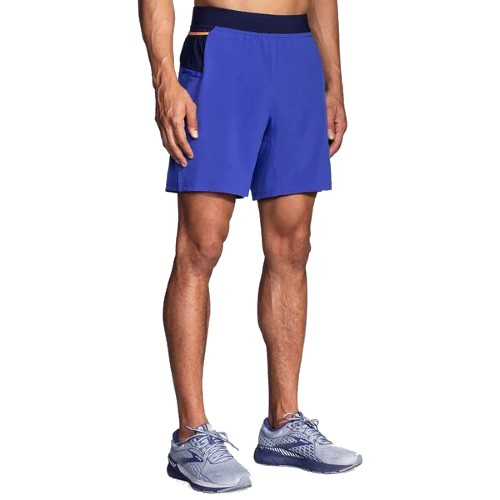"Brooks Sherpa 7"" 2 in 1 Short Men's Blue/Navy/Orange"