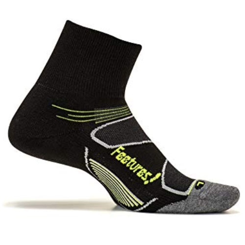 Feetures Elite MC Quarter Unisex Black/ Reflector - Feetures Style # EC20024 F18