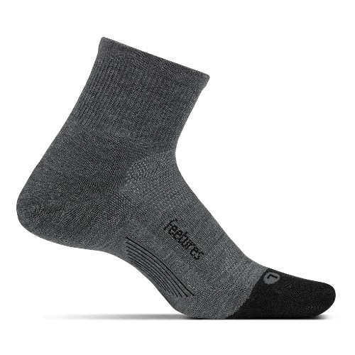 Feetures Merino 10 LC Quarter Unisex Grey